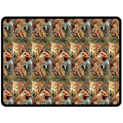 Autumn By Alfons Mucha 1896 Double Sided Fleece Blanket (Large)