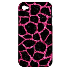SKN1 BK-PK MARBLE (R) Apple iPhone 4/4S Hardshell Case (PC+Silicone)