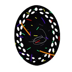 Colorful beauty Oval Filigree Ornament (2-Side)