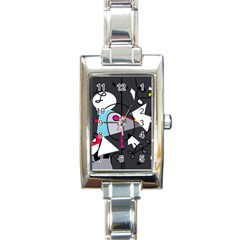 Abstract bird Rectangle Italian Charm Watch