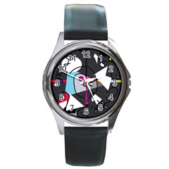 Abstract bird Round Metal Watch