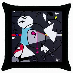 Abstract bird Throw Pillow Case (Black)