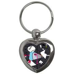 Abstract bird Key Chains (Heart)