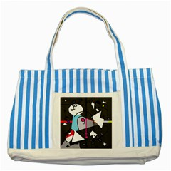 Abstract bird Striped Blue Tote Bag