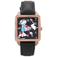 Abstract bird Rose Gold Leather Watch