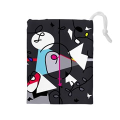 Abstract bird Drawstring Pouches (Large)
