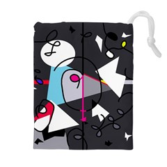Abstract bird Drawstring Pouches (Extra Large)