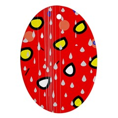 Rainy Day   Red Ornament (oval)