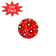 Rainy day - red 1  Mini Magnets (100 pack)