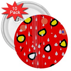 Rainy day - red 3  Buttons (10 pack)