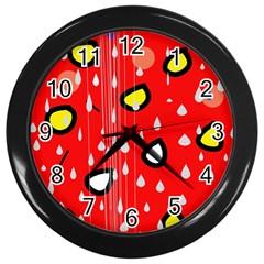 Rainy day - red Wall Clocks (Black)