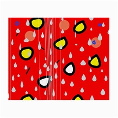 Rainy day - red Small Glasses Cloth (2-Side)