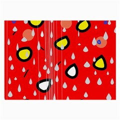 Rainy day - red Large Glasses Cloth