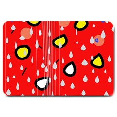 Rainy day - red Large Doormat