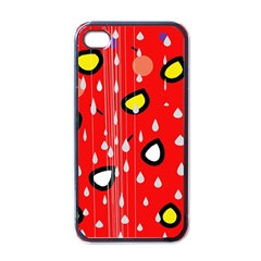 Rainy day - red Apple iPhone 4 Case (Black)