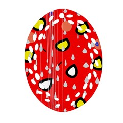 Rainy day - red Oval Filigree Ornament (2-Side)