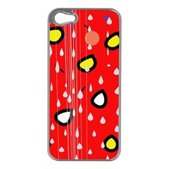 Rainy day - red Apple iPhone 5 Case (Silver)