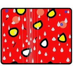 Rainy day - red Double Sided Fleece Blanket (Medium)