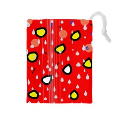 Rainy day - red Drawstring Pouches (Large)