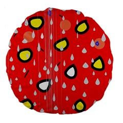 Rainy day - red Large 18  Premium Flano Round Cushions