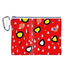 Rainy day - red Canvas Cosmetic Bag (L)