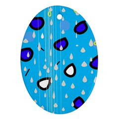 Rainy day - blue Ornament (Oval)