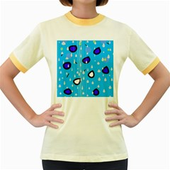 Rainy day - blue Women s Fitted Ringer T-Shirts