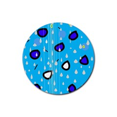Rainy day - blue Rubber Round Coaster (4 pack)