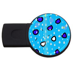 Rainy day - blue USB Flash Drive Round (2 GB)
