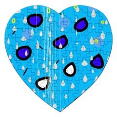 Rainy day - blue Jigsaw Puzzle (Heart)