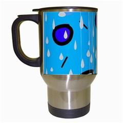 Rainy day - blue Travel Mugs (White)