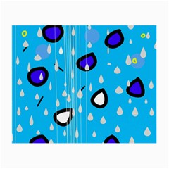 Rainy day - blue Small Glasses Cloth