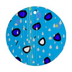 Rainy day - blue Round Ornament (Two Sides)
