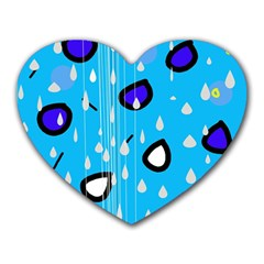 Rainy day - blue Heart Mousepads