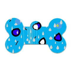 Rainy day - blue Dog Tag Bone (One Side)