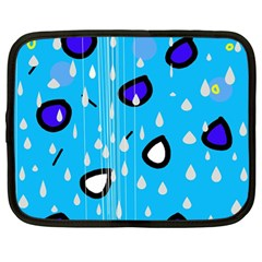 Rainy day - blue Netbook Case (Large)