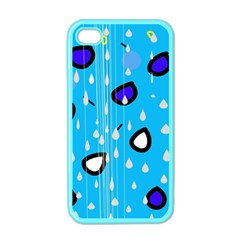 Rainy day - blue Apple iPhone 4 Case (Color)