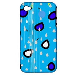 Rainy day - blue Apple iPhone 4/4S Hardshell Case (PC+Silicone)