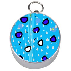 Rainy day - blue Silver Compasses
