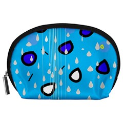 Rainy day - blue Accessory Pouches (Large)