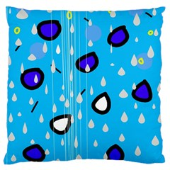 Rainy day - blue Large Flano Cushion Case (One Side)