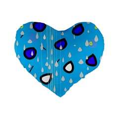 Rainy day - blue Standard 16  Premium Flano Heart Shape Cushions