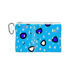 Rainy day - blue Canvas Cosmetic Bag (S)
