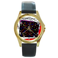 Color TV Round Gold Metal Watch