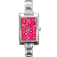 Rainy day - pink Rectangle Italian Charm Watch
