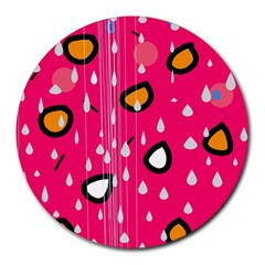 Rainy day - pink Round Mousepads