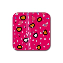Rainy day - pink Rubber Square Coaster (4 pack)