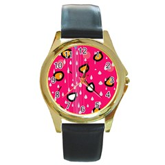 Rainy day - pink Round Gold Metal Watch