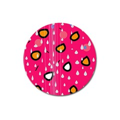 Rainy day - pink Magnet 3  (Round)