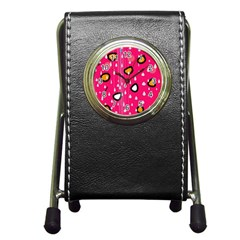 Rainy day - pink Pen Holder Desk Clocks
